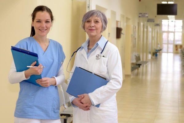 Doctors in hospital hallway