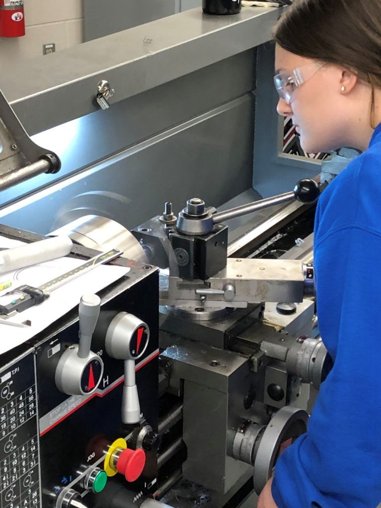 Precision Machining Student working